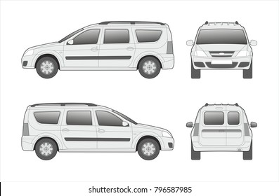 Car, vehicle template isolated