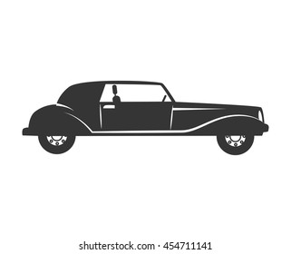 car vehicle transport black and white colors isolated flat icon