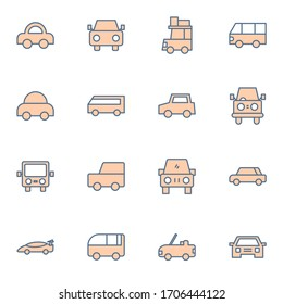 Car, vehicle, transportation icon set. Simple cars, van, bus outline icon sign concept. vector illustration.