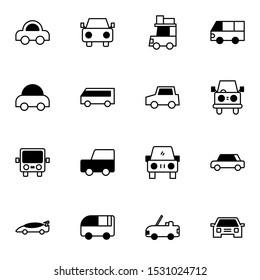 car, vehicle, van solid outline icon set. creative cars, minibus, minivan glyph icons sign vector illustration.