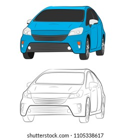 the car vehicle vector drawing illustration eps10