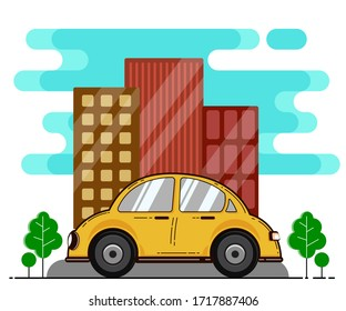 Car and View of City in Flat Design