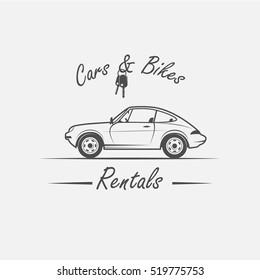 car in vintage style, car logotype, car rental.