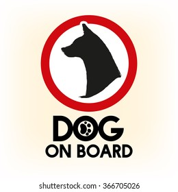 Car warning sign dog on board for traveling.