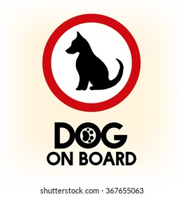 Car warning sign dog on board for travelling.