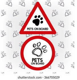 Car warning sign pet on board for traveling