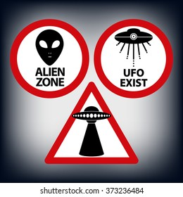 Car warning sign ufo zone for travel. Road caution sign aliens