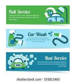 Car wash auto cleaner washer shower service banners set isolated vector illustration