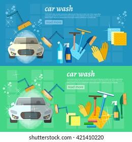 Car wash banner automatic car wash car washing machine vector illustration