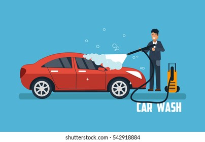 Car wash banner. Man washing car vector illustration. Car wash concept with red sport car.