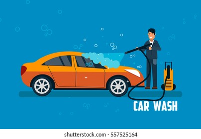 Car wash banner. Man washing car vector illustration. Car wash concept with sport orange car.