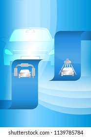 Car wash blue light background with icons design elements. Modern business presentation template for car-wash cover brochure. Abstract vector illustration eps 10 can be for flyer layout, web banner