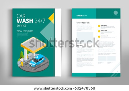 Car Wash Brochure Design Green Square Figure Text Frame Surface A4 Cover