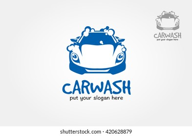 Car wash bubbles service vector illustration, flat icon modern design isolated on white background