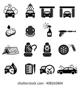 Car Wash, Car Care icons set - vector illustration