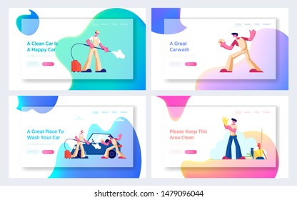 Car Wash and Cleaning Service Website Landing Page Set. Workers Lathering Automobile and spraying it with Water Jet. Cleaning Company Employee at Work Web Page Banner. Cartoon Flat Vector Illustration