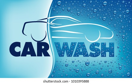 car wash concept with many water drops