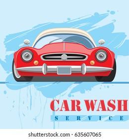 Car wash emblem design. Vintage sports vehicle front view. Vector illustration