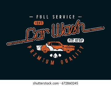 Car wash emblem in retro style. Graphic design for t-shirt. Color print on black background