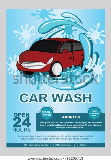Car Wash Flyers Decorated Car Icon Stock Vector Royalty Free 796205713
