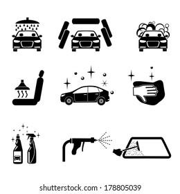 Car wash. Four variants car wash icons set.