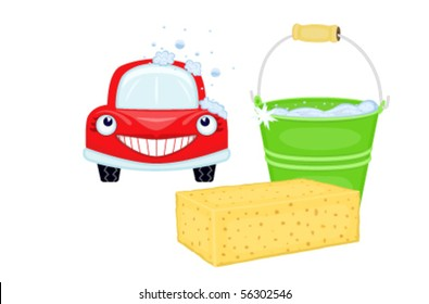 Car wash with happy red car. Isolated over white. Vector illustration saved as EPS AI8, all elements layered and grouped.