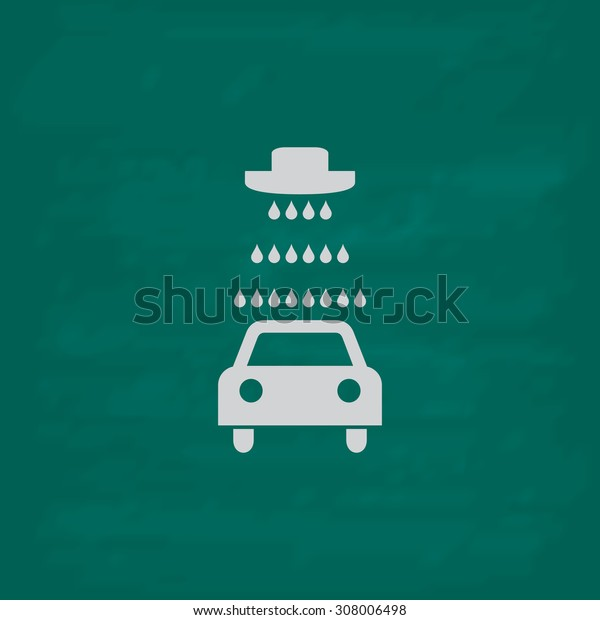 Car wash. Icon. Imitation draw with white chalk on green chalkboard. Flat Pictogram and School board background. Vector illustration symbol