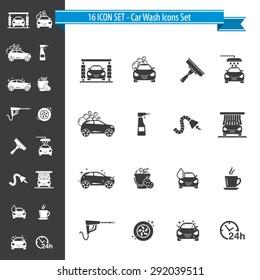 Car Wash Icon Set - 16 ICON SET