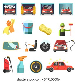 Car wash icons. Collection symbol and sign of cleaner service for auto: clean sponge, washer, shower and foam, water spray. Design elements in flat style. Vector illustration isolated on white