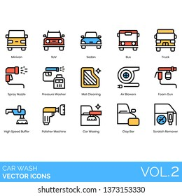 Car wash icons including minivan, SUV, sedan, bus, truck, spray nozzle, pressure washer, mat cleaning, air blower, foam gun, high speed buffer, polisher machine, waxing, clay bar, scratch remover.