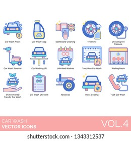 Car wash icons including prices, soap, dashboard cleaning, tire shine, checking pressure, steamer, lift, unlimited washes, touchless, waiting room, environmental friendly, checklist, abrasives, glass.