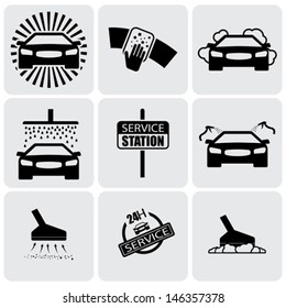 car wash icons ( signs ) set of cleaning car- vector graphic. This illustration represents nine symbols of washing and cleaning in a 24 hour service station