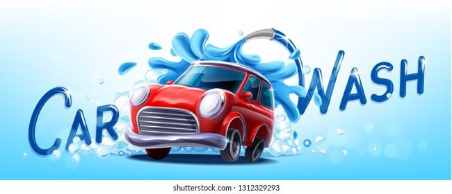 car wash illustration banner