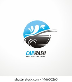 Car wash logo design concept with car silhouette and water splash in negative space.
