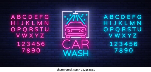 Car wash logo design emblem in neon style vector illustration. Template, concept, luminous sign on the theme of washing cars. Editing text neon sign. Neon alphabet.