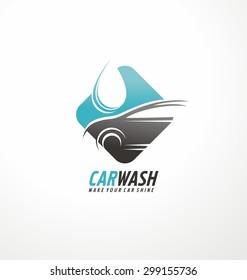 Car wash logo design layout. Corporate vector symbol concept. Unique auto cosmetic icon template.