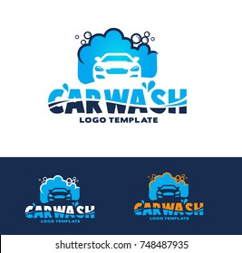 Car wash logo design Vector. Car icon with Foam. Vector Illustration eps.10