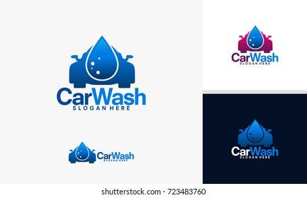 Car Wash logo designs vector