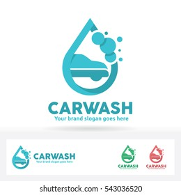Car wash logo, Car, Shampoo Bubble and water drop  symbol