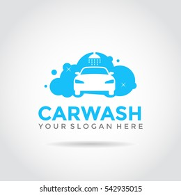 Car Wash Logo Template Design. Foam on car, flat simple design.