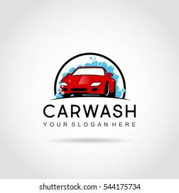 Car Wash Logo template Design. car and foam on circle. vector illustration eps.10