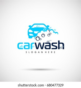 Car wash logo template. Car icon with Foam. Vector Illustration eps.10