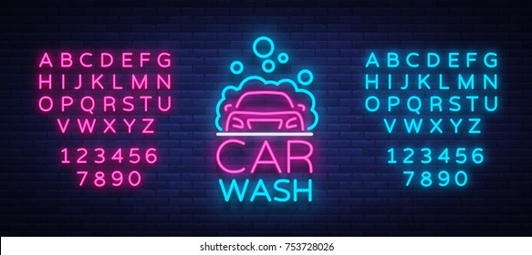 Car wash logo vector design in neon style vector illustration isolated. Template, concept, luminous signboard icon on a car wash theme. Luminous banner. Editing text neon sign. Neon alphabet.