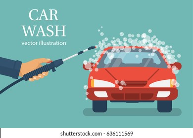 Car wash. Man worker washing car. service. Auto service station. Vector illustration flat design. Isolated on background. Vehicle in foam.