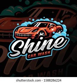 car wash mascot logo esport gaming. racing car mascot logo illustration.