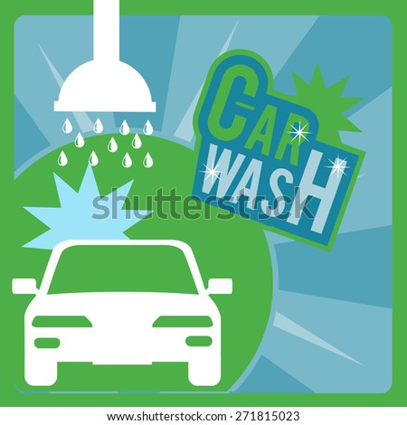 Car Wash Over Green Blue White Stock Vector Royalty Free 271815023