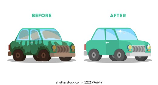 Car wash service banner before and after washing. Dirty green auto and clean shiny automobile. Isolated vector flat illustration