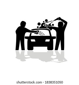 Car wash service car cleaning icons vector.