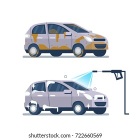 Car wash service concept.  Vehicle before and after cleaning. Flat style vector illustration isolated on white background.