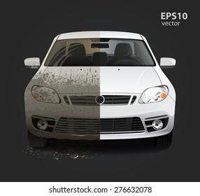 Car wash service creative concept. Hd high detailed 3d color vector illustration.